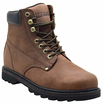 """EVER BOOTS """"Tank Men's Soft Toe Oil Full Grain Leather Insulated Work Boots Construction Rubber Sole (11 D(M), Darkbrown)"""