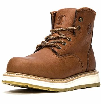 ROCKROOSTER Work Boots for Men, Soft Toe Water Resistant Wedge Sole Mens's Work Boots Shoes (N1-AP615, 9-TAN)