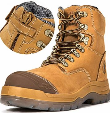 ROCKROOSTER Men's Work Boots, Zipper, Steal Toe, Antistatic, Safety Leather Shoes, Pull On Water Resistant,Width EEE-Wide (AK232Z, US 7.5)