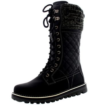 Polar Womens Winter Thermal Snow Outdoor Warm Mid Calf Waterproof Durable Boot - Black Leather - US8/EU39 - YC0379