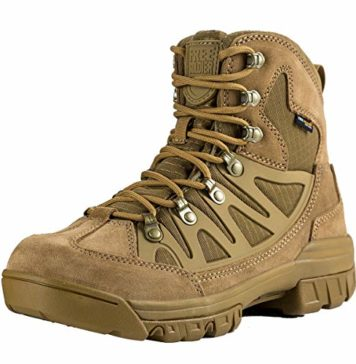 FREE SOLDIER Outdoor Men's Tactical Military Combat Ankle Boots Water Resistant Lightweight Mid Hiking Boots (Coyote Brown, 9 US)