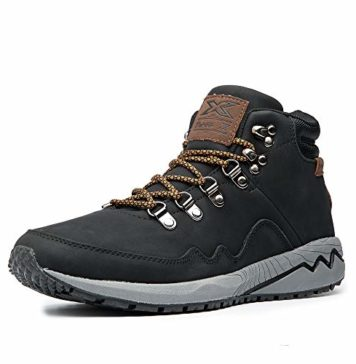 Three X Men's Work Boots Construction Shoes Leather Outdoor Shoes (11.5, Black)