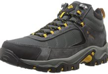 Columbia Men's Granite Ridge MID Waterproof Hiking Shoe, Dark Grey, Golden Yellow, 10 D US