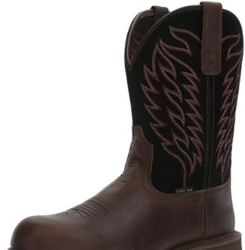 Ariat Work Men's Groundbreaker Pull-On Steel Toe Work Boot, Brown/Black, 10.5 D US