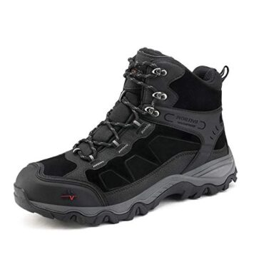 NORTIV 8 Men's Waterproof Hiking Boots Outdoor Mid Trekking Backpacking Mountaineering Shoes Black Size 12 US JS19004M