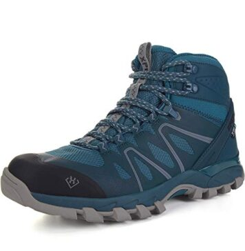 SKENARY Men's Mid Waterproof Hiking Boots, Breathable with High-Traction Grip Hiking Navy/Silver, 11.5